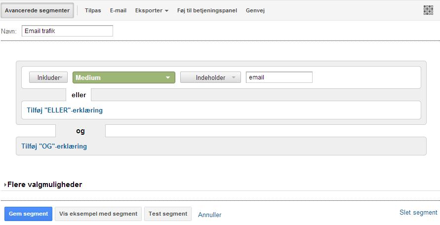 Opret et avanceret segment i Google Analytics